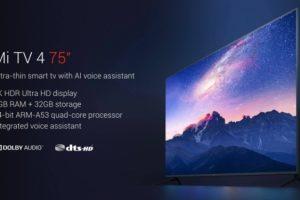 Xiaomi Mi TV 4 75″: смарт-ТВ с экраном 4К HDR за $1405″